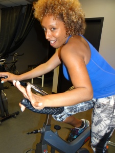 Goofing around in spin class.
